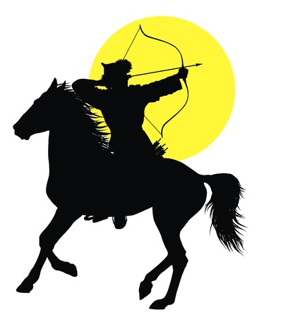 bows: Medieval oriental horseman with bow and arrows. Vector silhouette