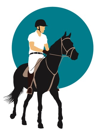silhouette man: Horse and rider on blue background.      Illustration