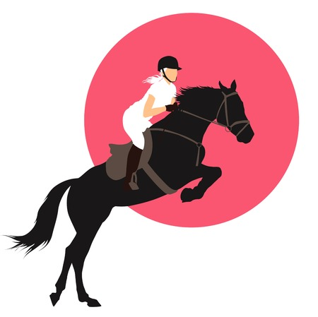 Horse and rider jumping on pink background.