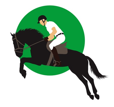 horse racing: Horse and rider jumping on green background.