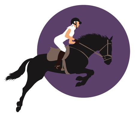 show jumping: Horse and rider jumping on purple background.