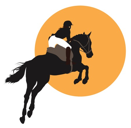 equestrian sport: Horse and rider jumping on orange background.