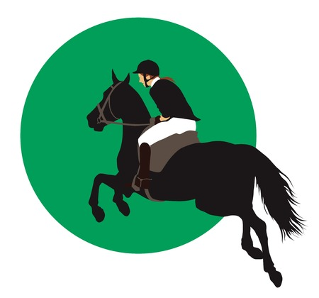 show jumping: Horse and rider jumping on green background.