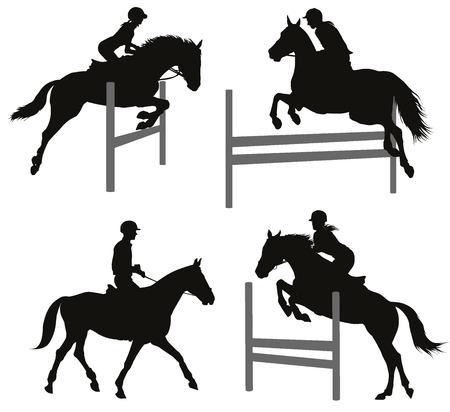 salto de valla: Caballos saltando un obst�culo. Siluetas del vector fijadas. EPS 10