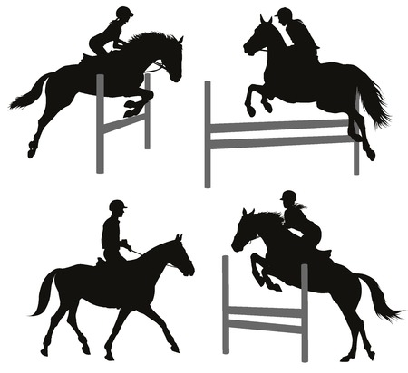 horse riding: Horses jumping a hurdle. Vector silhouettes set. EPS 10