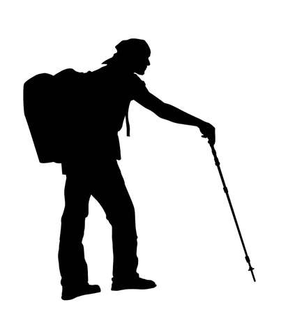 trekking pole: Backpacker silhouette.