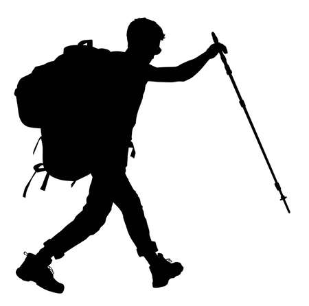 man hiking: Backpacker silhouette.