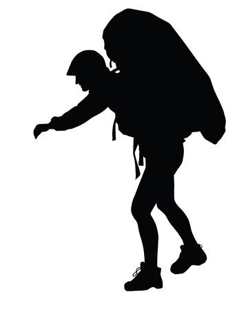 backpacker: Backpacker vector silhouette. EPS 8