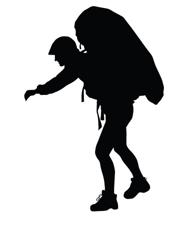 Backpacker vector silhouette. EPS 8