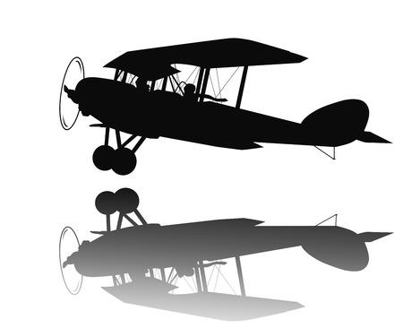 aeronautic: Vintage biplane taking off.
