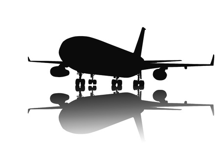 show off: Airliner silhouette with reflection. Illustration
