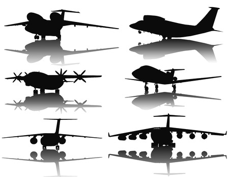 off ramp: Aircraft vector silhouettes collection Illustration