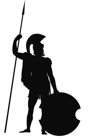 cascos romanos: Guerrero espartano con escudo y lanza vector silueta detallada. EPS 8 Vectores