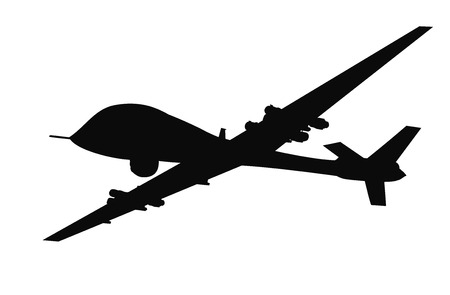 military silhouettes: Drone flying vector silhouette. EPS 8