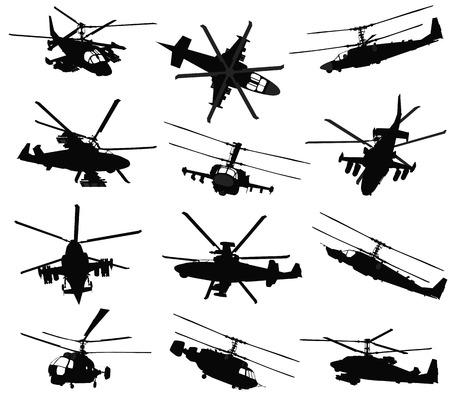 軍のヘリコプターのシルエットを設定します。  イラスト・ベクター素材