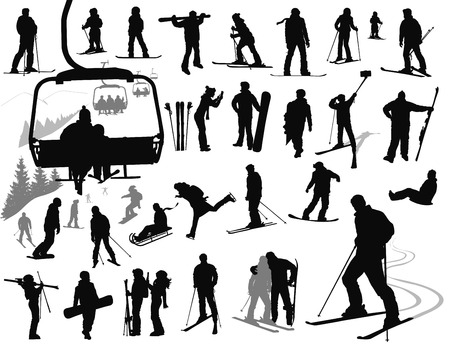Ski resort vector silhouettes collection.
