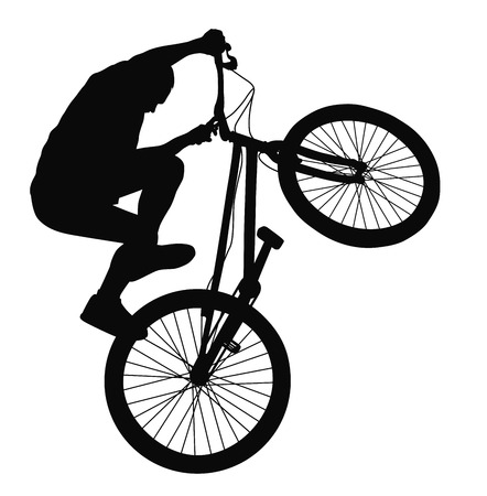 one wheel bike: Bike trick detailed silhouettes.