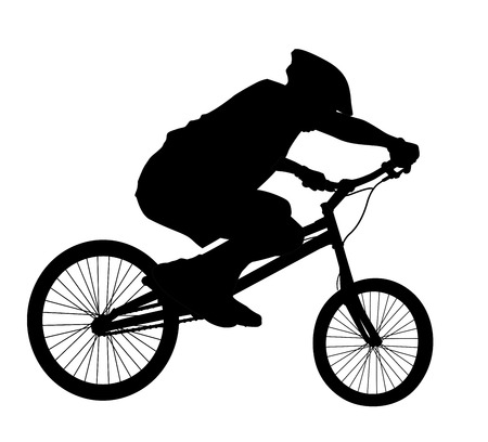 extremal: Bike trick detailed vector silhouettes. Sports design