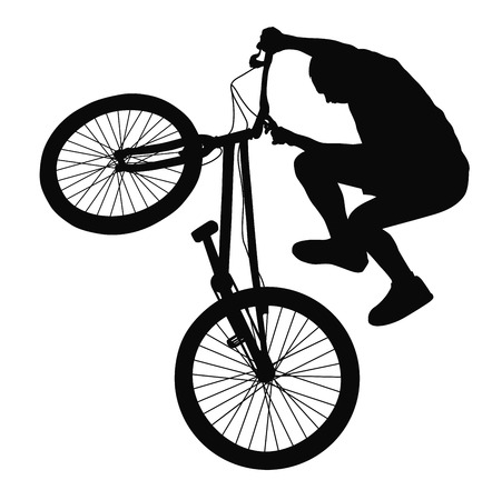 Bike trick detailed silhouettes.  Illustration