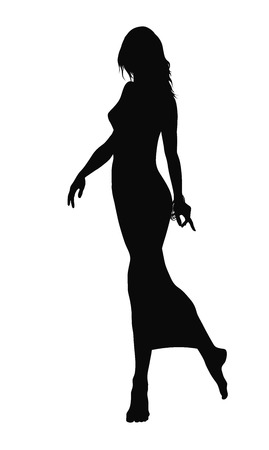 womanliness: Graceful woman walking barefoot. Vector silhouette Illustration