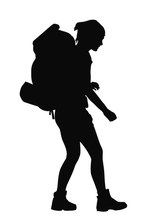 travellers: Girl with backpack vector silhouette. EPS 8
