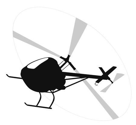 cockpit: Helicopter flying  vector silhouette.