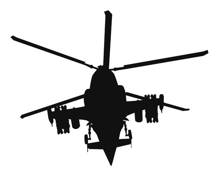 Military helicopter silhouette. Vector EPS8 Illustration