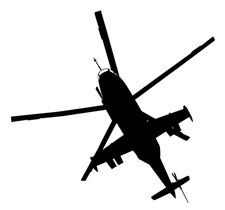 cold war: Military helicopter flying  vector silhouette Illustration