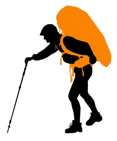 Backpacker vecteur silhouette. EPS 10 Vecteurs