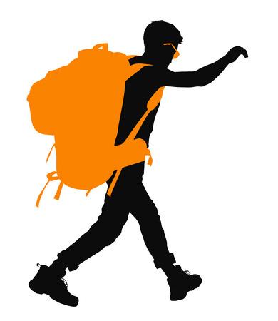 backpacker: Backpacker vector silhouette. EPS 10