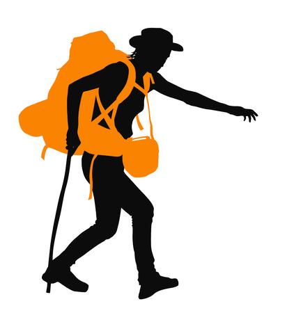 traveller: Trekker vector silhouette with orange backpack.