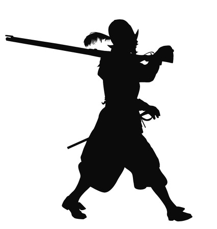 conquistador: Conquistador with musket marching. Detailed vector silhouette.
