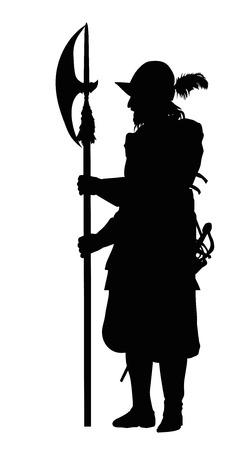 guard duty: Conquistador con alabarda. Silueta detallada del vector. Vectores