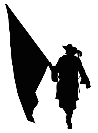 warrior pose: Vintage soldier with flag marching. Detailed vector silhouette.