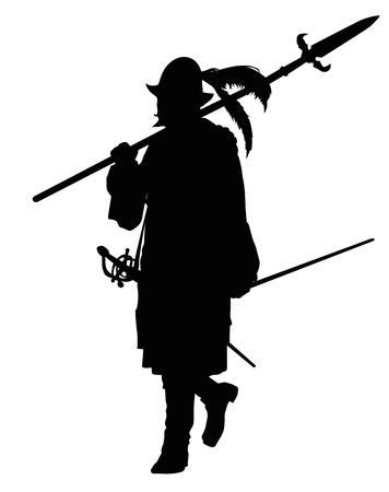 conquistador: Conquistador with spear marching. Detailed vector silhouette.