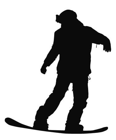 teenage couple: Snowboarder vector silhouette. Winter sports. Illustration