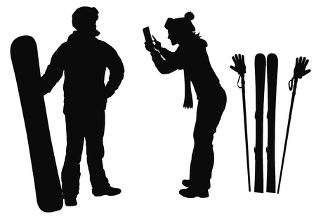 skier: Skier and snowboarder couple posing for pictures. Vector silhouettes.