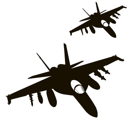 us air force: Military fighters flying. Vector silhouettes