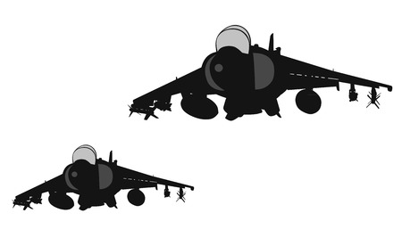 Military aircrafts flying vector silhouettes. EPS 10 Stock Illustratie