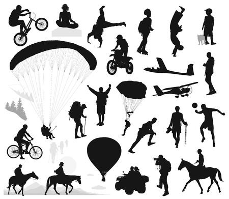 Active people vector silhouettes set