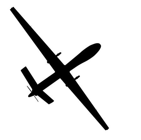 usaf: Drone flying vector silhouette