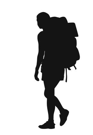 silhouette Backpacker sur fond blanc Vecteurs
