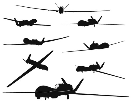 Drone vector silhouettes collection. EPS 8