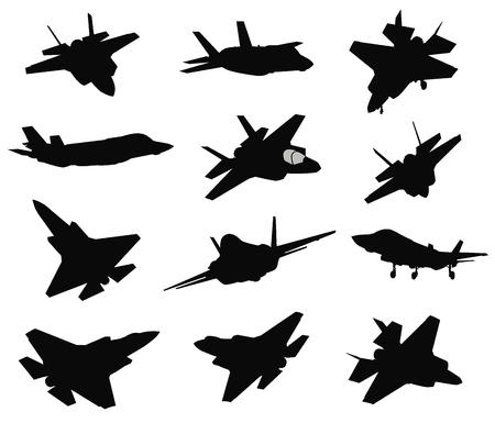 12 Military air crafts set illustration on white background. Illustration
