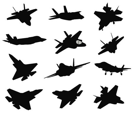 12 Military air crafts set illustration on white background. Çizim