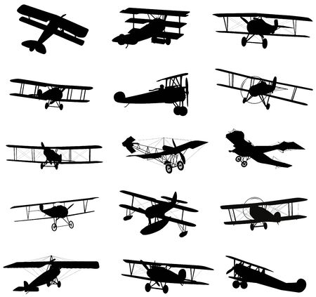 Vector biplanes silhouettes