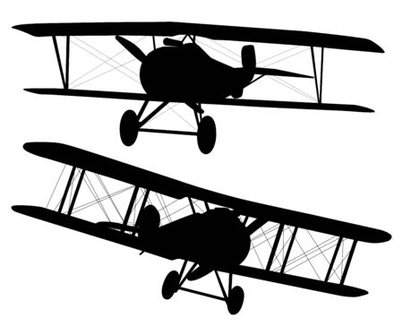 Vector biplanes silhouettes  イラスト・ベクター素材