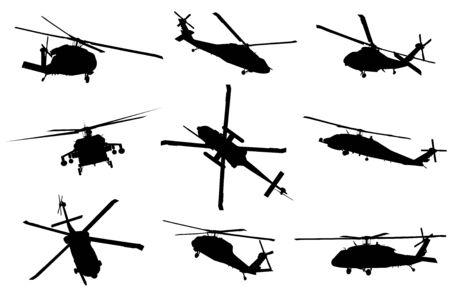 Detaillierte Silhouetten des Vektorhubschraubers