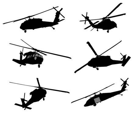 Vector siluetas detalladas de helicópteros
