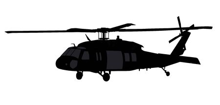 Helicopter detailed silhouette. Vector EPS 10